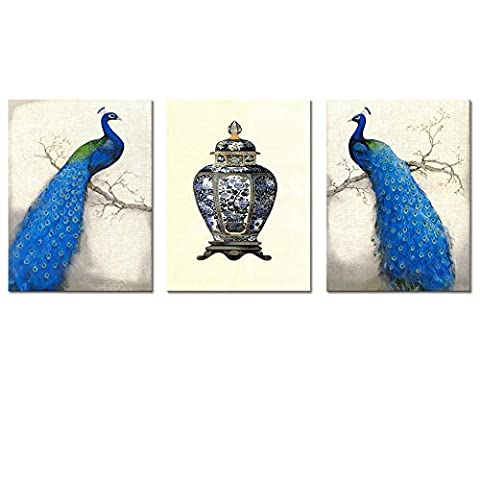 Beautiful Peacock on Tree Painting Printed on Canvas Peacock Canvas Wall Art for Living room Bedroom Classical Design Artwork for Wall Framed and Stretched Easy to