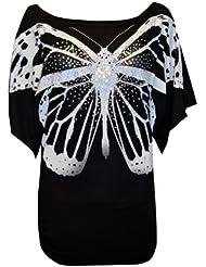 MyMixTrendz-paillettes pour femme-motif papillon-top avec cadres