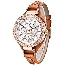 Alienwork Quartz Watch Multi-function Wristwatch nacre Rhinestone Leather white brown K002GA-06