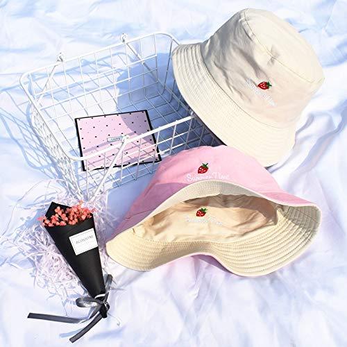 QQYZ Eimer Hüte Frauen Sonne Schattierung Flachen Buchstaben Bestickt Fischer Hut Koreanischen Stil Solide Doppelseitige Tragen Casual Womens Trendy Eine Größe 8