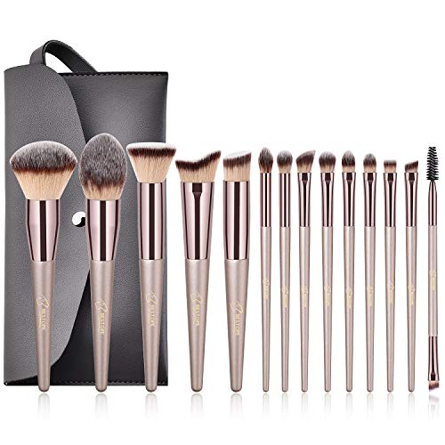 BESTOPE Make up Pinsel Set Für Reise Make up Pinsel Kosmetik Pinselsets Foundation Blending Blush Eyeliner Gesicht Pulver Pinsel Make up Pinsel Kit (Champaign gold)