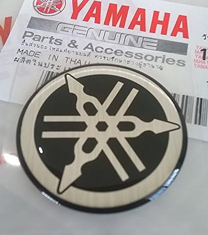 100% GENUINE 30mm Diamètre YAMAHA TUNING FOURCHE Autocollant Emblème Logo noir / ARGENT surélevé bombé Gel Résine Autoadhésif Moto / Jet Ski / ATV / Motoneige