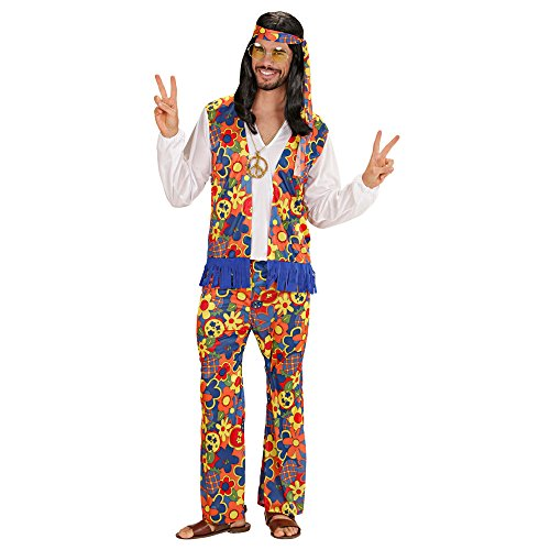 Kostüme Ideen Männer (Widmann 35251 - Erwachsene Kostüm Hippie Mann, Hemd mit Weste, Hose, Kopftuch, Kette mit Medaillon,)