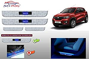 Auto Pearl - Premium Quality Wireless 7mm Stainless Steel Led Scuff Plates Footsteps for - Renault Kwid