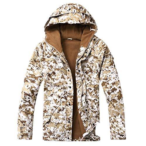 XXHDYR Camouflage einheitliche Windjacke Outdoor-Sport Wicking Camping Abenteuer Jagd Wüste Plus warme Jacke Samt Trainingsanzug Tarnen (Size : L) -