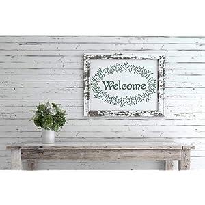 Romantische Welcome Schablone mit Blumenkranz