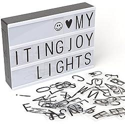 Boîte de Lumière, LED lightbox avec 90pièces lettres, emojis et symboles. 30x 21cm. Format A4. Dakota. 1unité