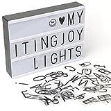 Caja de luz, LED LIGHTBOX con 90 piezas letras, emojis y símbolos. 30 x 21 cm. Tamaño A4. Dakota. 1 unidad