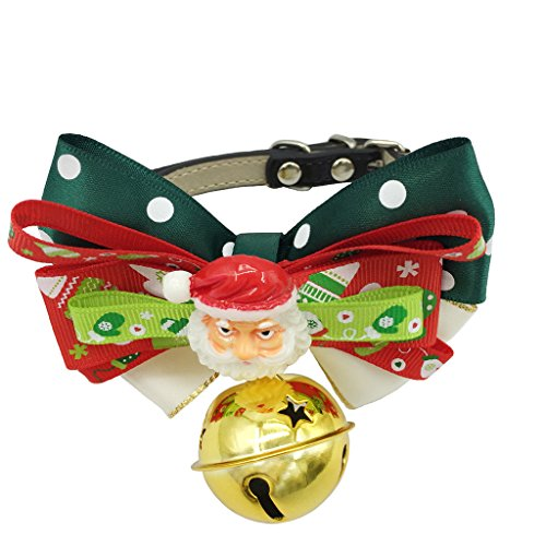 Samojede Kostüm (Weihnachten Halsband Wunderschön Geschenk für Hunde Katzen Haustier - Verstellbare Weihnachtsbogen Hundefliege Krawatte Halskragen Halskette Ledergürtel-Weihnachtsmann)