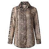 masrin Damen Chiffon-Schlangenmuster Printed Button Up Langarm Beiläufiges Loses Hemd Top Bluse (Khaki, XL)