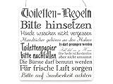XL Shabby Vintage Schild Türschild TOILETTEN REGELN Bad WC Dekoration Holzschild WEISS