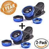 Captcha Pack Of Two Universal 3 In 1 Mobile Camera Lens With 180° Fisheye Lens + 110°Wide Angle Lens + 12x And 24x Macro Lens