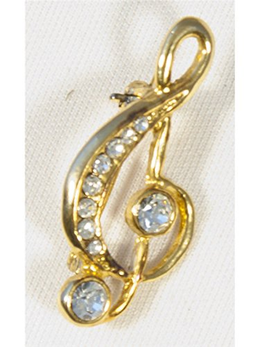 Crystal Finish (Brooch: Small Treble Clef - Clear Crystals/Gold Finish)