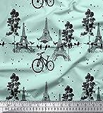 Soimoi Grun Samt Stoff Fahrrad & Eiffelturm architektonisch