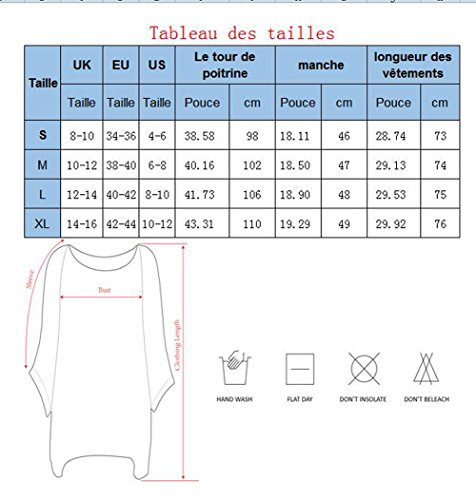 Yidarton Tunique Femme Grande Taille ete Manches Batwing Swag Casual Top Chemise Blouse Bleu clair