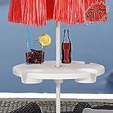 XL Sonnenschirm-Tisch, Schirmtisch Getränkehalter für alle Sonnenschirme mit Mastdurchmesser 12 mm - 42 mm, komplett mit robuster Schirmhülse, Sonnenschirmständer für Strand Sand, Bodendübel Bodenhülse Schirmhalter Schirmdübel, Schirmständer, Zubehör für Sonnenschirme