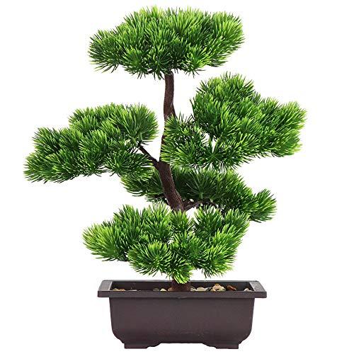 Aisamco Künstlicher Bonsai-Baum Gefälschte Pflanzendekoration Künstliche Zimmerpflanzen in Töpfen Japanische Bonsai-Kiefernpflanze 33 cm hoch für die Hauptdekoration als Desktop-Display