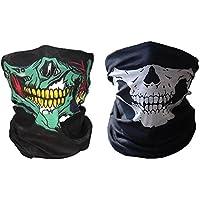 2 x Premium multifunción Bandana | Braga | | paño de manguera | Pañuelo con calavera de esqueleto Máscaras para moto bicicleta Esquí Paintball Gamer Carnaval Disfraz Calavera Máscara … (Verde/Blanco)