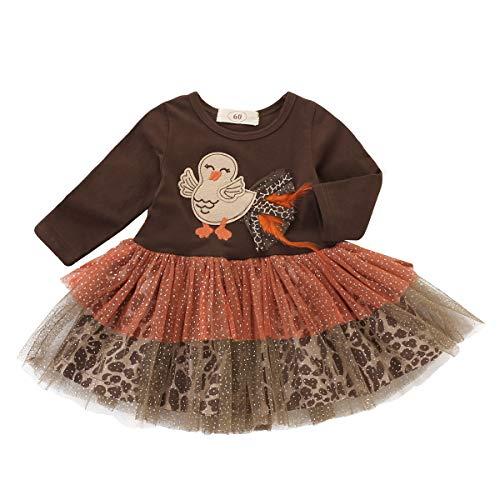 Chennie Säuglingsbaby-Mädchen-Lange Hülse Maschentutu die Türkei-Erntedank-Kleider-Kleidung (Color : Brown, Size : 18-24M)