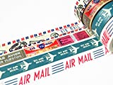 Ensemble de rouleaux de ruban washi décoratif, 15 mm x 10 m, grand choix de motifs et couleurs Airmail