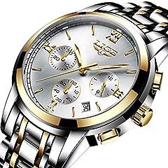 Idea Regalo - Orologi uomo,LIGE Acciaio Inossidabile Cronografo sportivo analogico al quarzo orologio Gents impermeabile Data moda Casual Lusso Orologi da polso oro argento