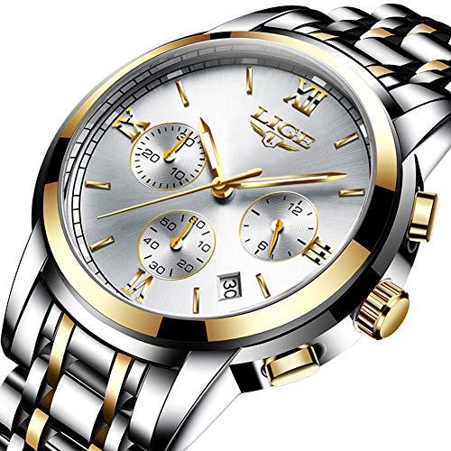 Homme Montres,LIGE Acier Inoxydable Chronographe Sport Quartz Analogique Montre Imperméable Date Mode Décontracté Luxe Montre Bracelet Or Argent
