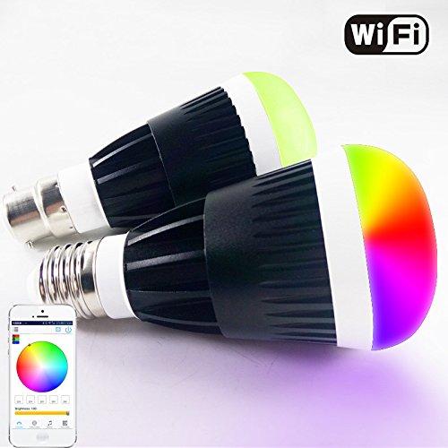 Ipad Birne (Expower E27 Bluetooth 4.0 LED Glühlampe WiFi LED Glühlampe Smartphone Kontrollierte dimmbare Farbwechsel Lampe Birne für iPhone, iPad, Android-Handy und Tablet (10 Watt Schwarz))