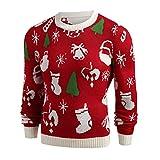 SuperSU Männer Unisex Neuheit Weihnachten gedruckt Winter Pullover Strick Top gestreiften Outwear Bluse Causal Rundhals Sweater Basic Elch Sweatjacke Retro Drucken Strickwaren Strickpullover