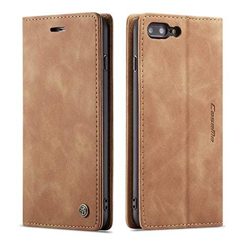 QLTYPRI iPhone 6 6S Hülle, Vintage Dünne Handyhülle mit Kartenfach Geld Slot Ständer PU Ledertasche TPU Bumper Wallet Case Flip Schutzhülle für iPhone 6 6S - Braun