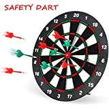 Geekper Safety Dart Board Set For Kids - 16 Inch Rubber Dart Board With 6 Soft Tip Darts For Children And Adults - Office And Family Time