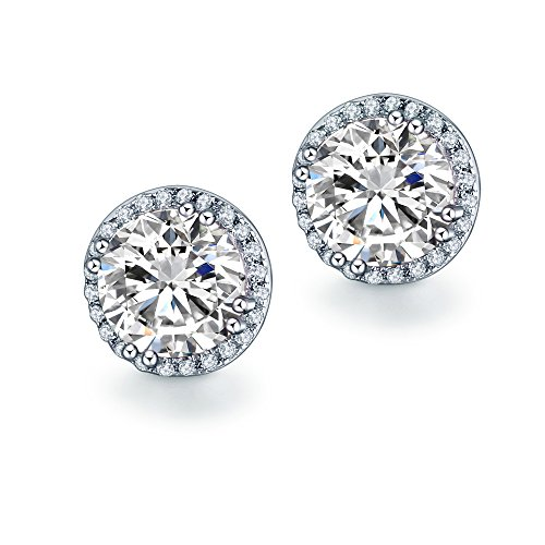 lingsilber 10mm Runde Schnitt Sapphire Cubic Zirkonia Halo Hengst Ohrringe (Sapphire Halo Ohrringe)