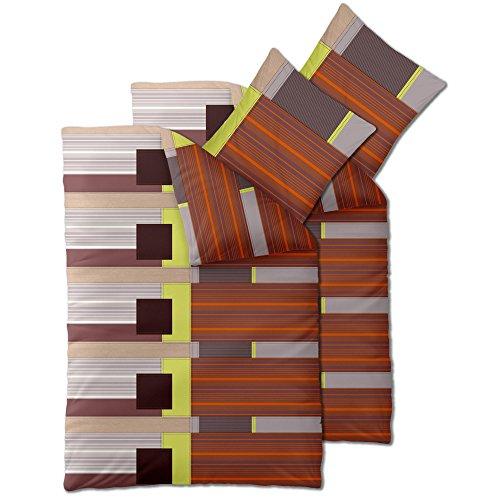 Flauschig weiches Winter-Bettwäsche-SET | verschiedene Größen | Baumwolle Biber 135 x 200 cm | OVP SPARSET 4 tlg. | CelinaTex 6000049 | Touchme Bijou | gestreift beige braun orange