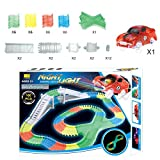 Omiki Magic Track Auto Spielzeug Tracks Bend, Flex und Glow Rennbahn Auto mit Glow in The Dark Track und 1 Rennwagen, 160 Stück Kits (160PCS)