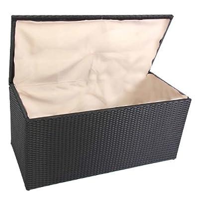 Kissenbox Aufbewahrungstruhe RomV, 118 cm, 360l, Poly-Rattan ~ schwarz