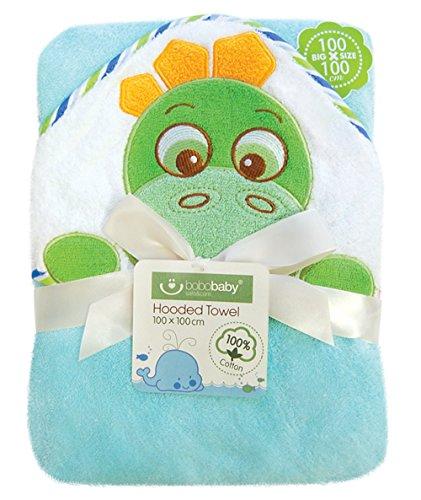 bobobaby ragazzo Set regalo in Baby asciugamano con cappuccio 1x 1m e cotone-Bavaglino-Aqua Dino-(pel di D)