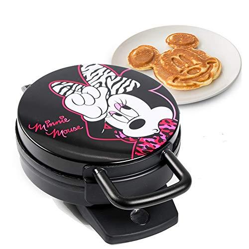 YQLM Casa Máquina Oara Hacer Gofres, Mini Lindo Waffle Maker Iron Recubrimiento Antiadherentey Acero Inoxidable Plancha de Gofres (Color : Black, Size : 18x27x10cm(7x11x4inch))