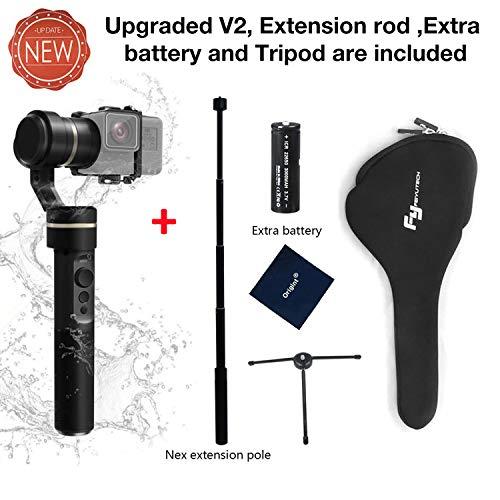 FeiyuTech G5(Neue Version) 3-Axis Stabilisator für die GoPro Hero 6/5/4/3 für Yi Cam 4k für AEE und Aktion Kameras vergleichbarer Größe, inklusive Stativ, extra Batterie und Verlängerungsstange
