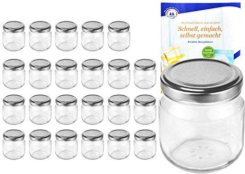 MamboCat 24er Set Rundgläser 212 ml Nieder Deckelfarbe Silber to 66 inkl. Diamant Gelierzauber Rezeptheft, Marmeladengläser, Einmachgläser, Einweckgläser, Gläser -
