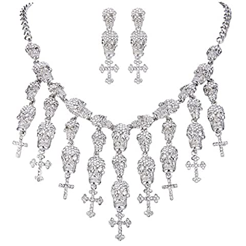 EVER FAITH® Halloween Lots Skull Cross Evil Austrian Crystal Necklace Earrings Set - Silver-Tone Clear