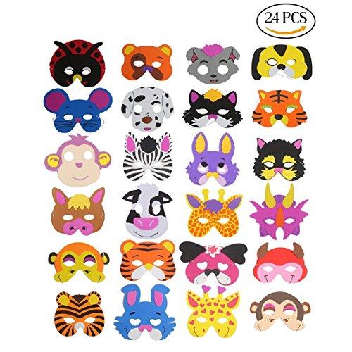 16máscaras de espuma para niños de Ccinee, diseños variados de animales, para...