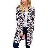 Frauenmantel Mönchspfeffer Frauen Langarm Leopardenmuster Tasche Mode Mantel Bluse T-Shirt Cardigan Top Damen Mantel A Linie
