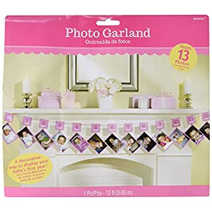 Amscan 220109 (-) 1st Birthday Pink Glitter Photo Garlands, 12 Feet