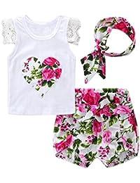Vestidos Bebé,Switchali Recién nacido Bebé Niñaflor EncajeTops Camiseta+Pantalones cortos+Venda Conjunto moda linda ropa para Niñas mono