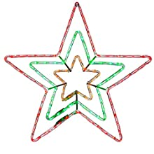 WeRChristmas Pre-Lit LED Animated Flashing Star Rope Light Silhouette, 72 cm - Multi-Colour