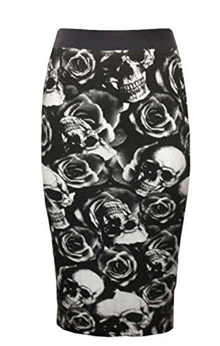 janisramone donne bodycon elastico wiggle midi matita gonna stampata Skull Rose