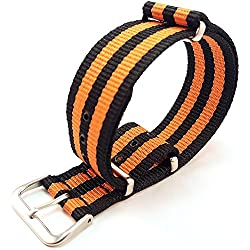 NATO G10 Black & Orange Striped Nylon Watch Strap Band 20mm