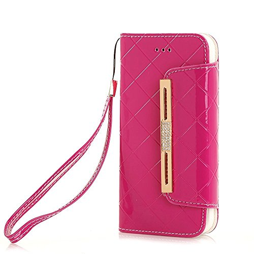 Wallet Case iPhone 8, elecfan Women Cute Style Candy Color PU Leather Stand Cover Flip Lady Multi Envelope Wristlet Handbag Wallet Case with Cards Slots Card Holder (iPhone 8, Magenta-A01) (Holder Leather Womens Card)