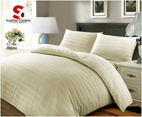 Sunshine Comforts® 100% Egyptian Cotton 500 Thread Count Satin Stripe Beautiful Duvet Cover Sets All Sizes (Super King, Striped Cream)