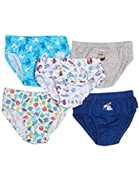 JSR Kids Boys Briefs Underwear Pack of 5 Plain Solid and Printed Mix Cute Colors 100% Soft Cotton(Under Elastic)