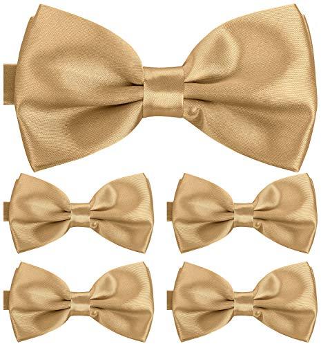 BomGuard Fliege für Herren champagne I Männer Fliege für Hochzeit, Party oder edele Anlässe I Trendy Bow Tie I 5er Set Schleifen (Grün-gold Bow Tie)